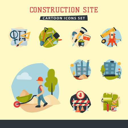 Construction site workers aerial industry equipment architecture crane building business development vector illustration.