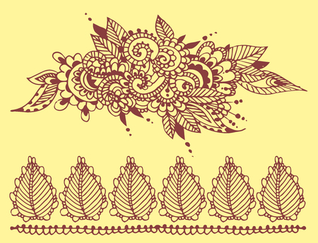 Henna tattoo brown mehndi flower doodle ornamental decorative indian design pattern paisley arabesque mhendi embellishment vector. Ilustração