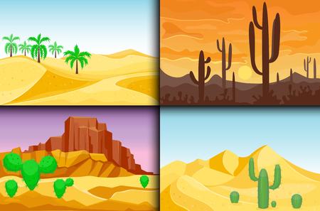砂漠山の砂岩荒野風景の背景は、太陽暑い砂丘風景旅行ベクトル イラストの下で乾燥します。