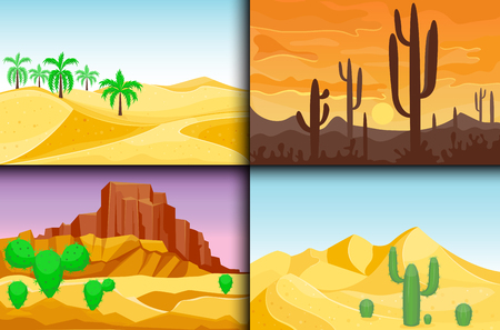 Desert mountains sandstone wilderness landscape background dry under sun hot dune scenery travel vector illustration. Banco de Imagens - 81127259
