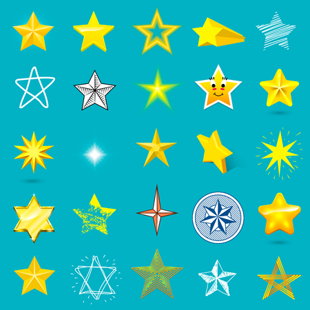 five star: Different style shape silhouette shiny star icons collection vector illustration on blue background