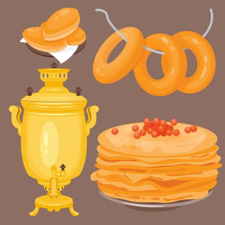 伝統的なロシア料理文化料理コース料理ロシア グルメ全国お食事ベクトル図へようこそ