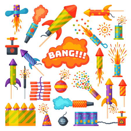Fireworks pyrotechnics rocket and flapper birthday party gift celebrate seamless pattern vector. Stock Illustratie