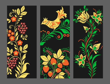 Vector khokhloma pattern cards design traditional Russia drawn illustration ethnic ornament painting illustration Illustration