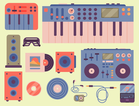 Hip hop accessory musician instruments breakdance expressive rap music dj vector illustration. 版權商用圖片