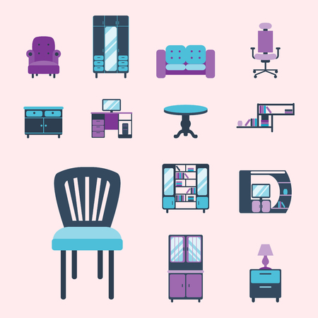 Furniture interior icons home design modern living room house comfortable apartment vector illustration Stok Fotoğraf