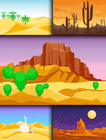 Desert mountains sandstone wilderness landscape background dry under sun hot dune scenery travel vector illustration. Banco de Imagens - 81166522