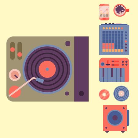 Hip hop accessory musician instruments breakdance expressive rap music dj vector illustration. Illusztráció