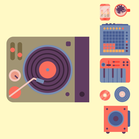 Hip hop accessory musician instruments breakdance expressive rap music dj vector illustration. Illustration