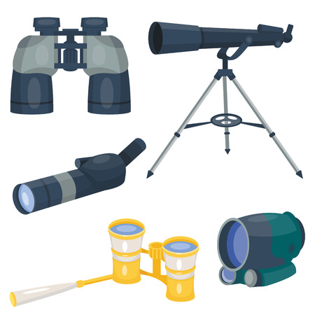 Professional camera lens binoculars glass look-see spyglass optics device camera digital focus optical equipment vector illustration