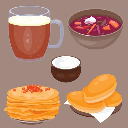 러시아 음식 미식 국가 환영 벡터 일러스트 레이션에 오신 것을 환영합니다 전통 러시아 요리 문화 요리 코스 음식