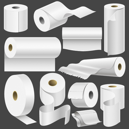Realistic toilet paper roll and kitchen towel template mock up set isolated vector illustration blank white 3d packaging Banco de Imagens - 81166534