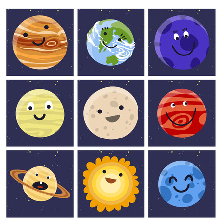 High quality solar system space planets flat vector illustration. Universe astronomy galaxy science star symbol. Globe world fantasy saturn astrology scientific icon. Illustration