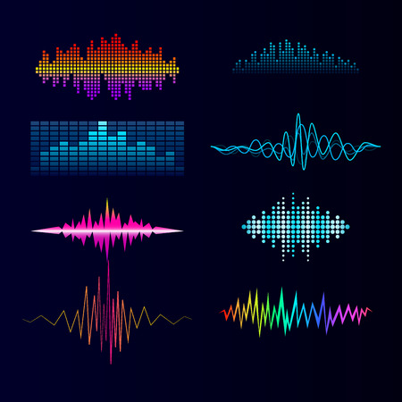 Vector digital music equalizer audio waves design template audio signal visualization signal illustration. Multitrack editing system soundtrack line bar spectrum electronic. Иллюстрация