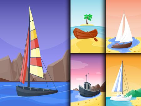 Summer time boat vacation nature tropical beach landscape of paradise island holidays lagoon vector illustration. Illustration