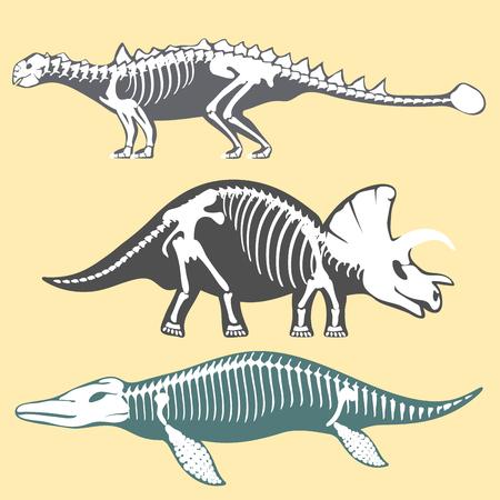 공룡 뼈대 실루엣 설정 화석 뼈 tyrannosaurus 선사 시대 동물 디노 뼈 벡터 평면 그림. 일러스트