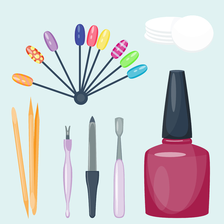 Manicure stóp i dłoni opieki palców instrumenty wektor mody osobistego sprzętu kosmetycznego Ilustracje wektorowe