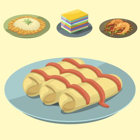 Traditionelle nationale thailändische Nahrung thailand asiatische Platte Küche Meeresfrüchte Garnelen Kochen köstliche Vektor-Illustration. Standard-Bild - 82992220