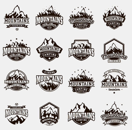 Mountain nature travel outdoor vector logo badge icons set