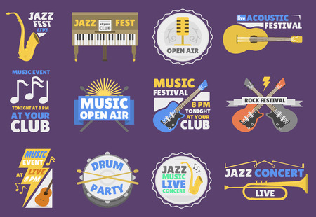 Music festival logo badge entertainment vector illustration.