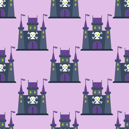 Castillo de cuentos de hadas de dibujos animados clave-piedra icono de la torre del palacio caballero asustadizo arquitectura medieval edificio ilustración vectorial. Foto de archivo - 82996807