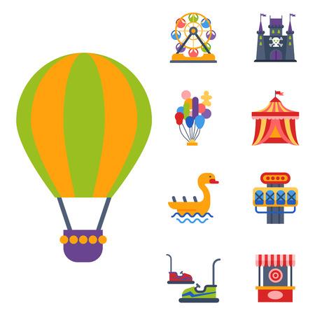 coaster: Slides and swings amusement park, ferris wheel attraction park. Carnival amusement leisure festival ride. Carousels entertainment attraction side-show kids park construction vector illustration.