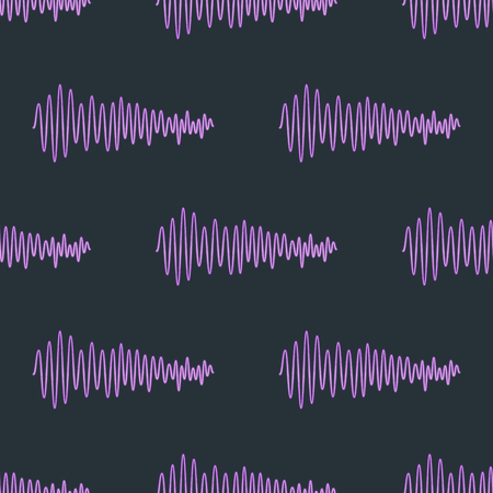 Vector digital music equalizer audio waves seamless pattern design template audio signal visualization signal illustration. Multitrack editing system soundtrack line bar spectrum electronic.
