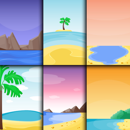 Lato? Odzi wakacje? Odzi tropikalnych krajobraz pla? Y Raju wakacje wyspiarskie laguny ilustracji wektorowych. Ilustracje wektorowe