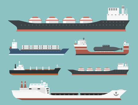 Navi da carico e navi cisterna spedizione spedizione bulk carrier treno di carico di navi da nave petroliere isolato su sfondo illustrazione vettoriale Archivio Fotografico - 83026838