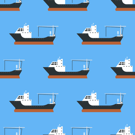 Cargo vessels and tankers shipping delivery bulk seamless pattern carrier train freight boat tankers background vector illustration Banco de Imagens - 83775264