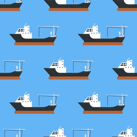 Le navi da carico e le petroliere che spediscono l'illustrazione senza cuciture alla rinfusa di vettore del fondo delle autocisterne della barca del trasporto del treno di trasportatore del modello della consegna Archivio Fotografico - 83775264
