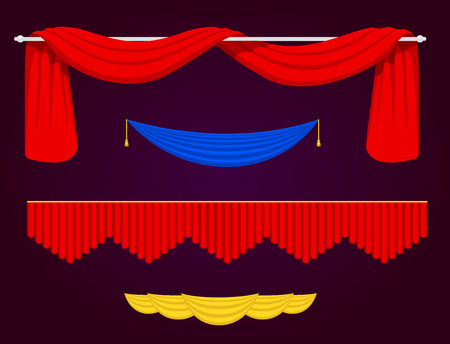 Theather scene blind curtain stage fabric texture performance interior cloth entrance backdrop isolated vector illustration