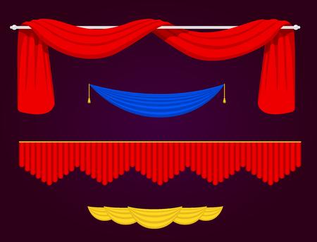 Van de het gordijnstof van de theatherscène de blinde van de de textuurprestaties van het gordijnstof binnenlandse de ingangsachtergrond geïsoleerde vectorillustratie
