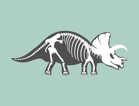 Dinosaures squelette silhouette os tyrannosaurus animaux préhistoriques dinosaure vecteur plat illustration. Vecteurs