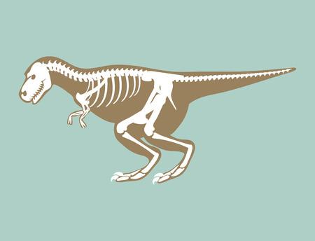 Dinosaurs skeleton silhouette bone tyrannosaurus prehistoric animal dino bone vector flat illustration.