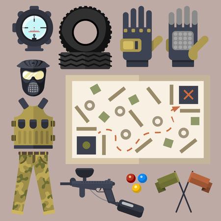 Van de de symbolenpictogrammen van Paintballclub de bescherming eenvormig en van het ontwerpelementen van het sportspel het doel vectorillustratie Stockfoto - 83099464