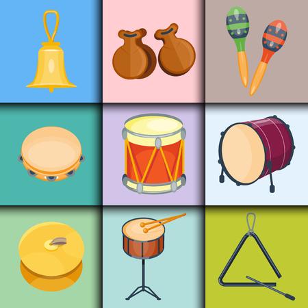 Musical drum wood rhythm music instrument series set of percussion vector illustration  イラスト・ベクター素材