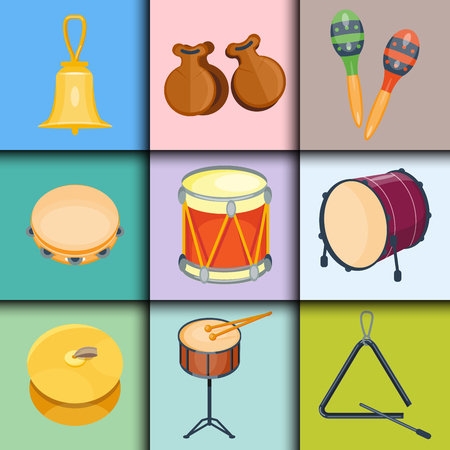 Musical drum wood rhythm music instrument series set of percussion vector illustration Illustration