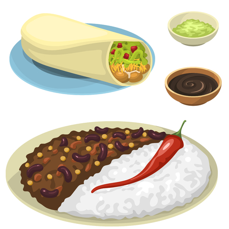 Platos de comida mexicana comida tradicional aislado salsa de almuerzo cocina méxico ilustración vectorial Foto de archivo - 83026833