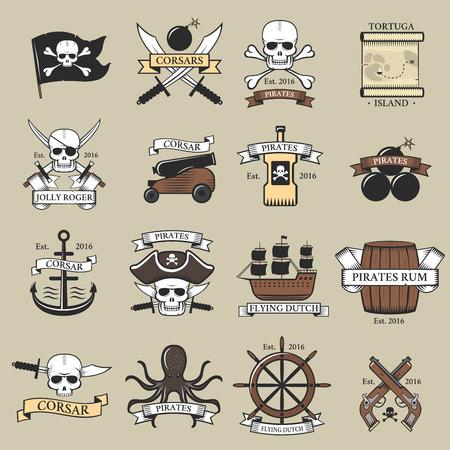 Moderne professionele piraten logo marine badges nautische zwaard oude skeleton banner vectorillustratie.