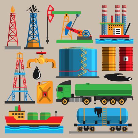 Oil extraction transportation industry production vector illustration