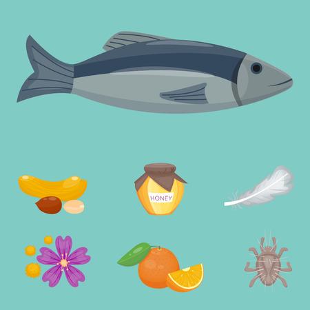 Simboli di allergia malattia salute sanitaria cibo virus salute malattia piatta sintomi allergeni informazioni sulle malattie illustrazione vettoriale. Archivio Fotografico - 83130329