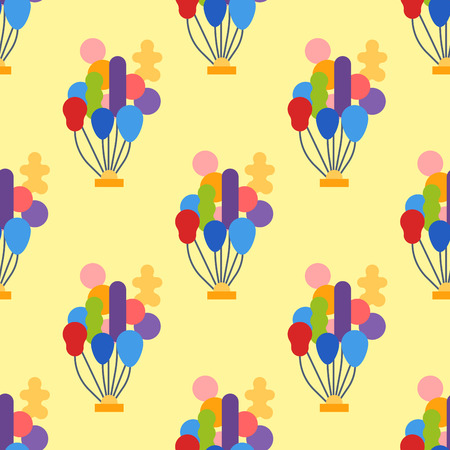 red balloons: Color glossy balloons seamless pattern vector illustration. Round entertainment holiday festival happy gift. Beautiful toy party day celebrate helium color carnival tool. Illustration