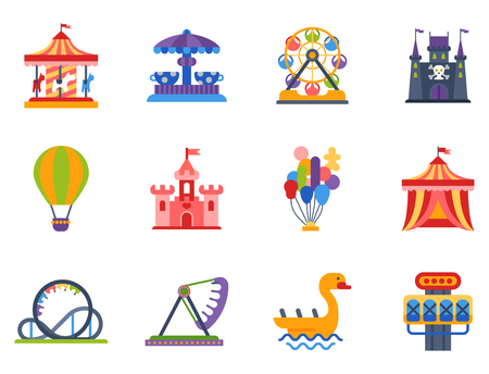 Slides and swings amusement park, ferris wheel attraction park. Carnival amusement leisure festival ride. Carousels entertainment attraction side-show kids park construction vector illustration. Stok Fotoğraf - 83032220
