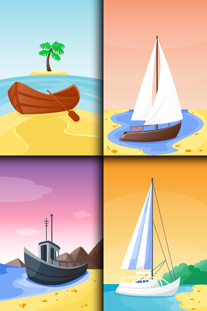 Summer time boat vacation beautiful nature tropical beach landscape of paradise island holidays background coastline lagoon vector illustration. Фото со стока - 83032221