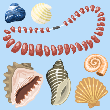 Sea marine animals and shells souvenirs cartoon vector illustration. Spiral tropical mollusk mussel decoration. Exotic snail aquarium beauty scallop nature seashell hand drawn sketch. Reklamní fotografie - 83032622