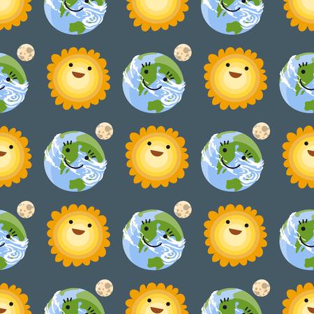 Seamless pattern sun yellow planets weather vector illustration season design thunder hot temperature