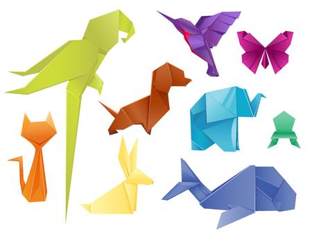 Animales de origami conjunto japonés plegado moderno símbolo de la manía de la vida silvestre decoración creativa ilustración vectorial. Foto de archivo - 83032984