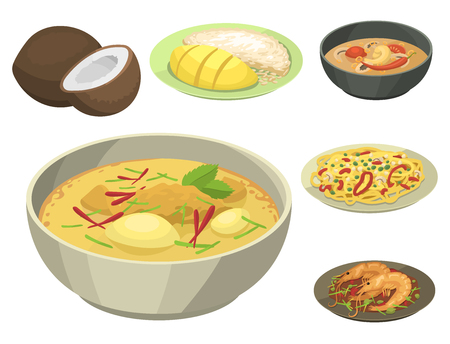 Traditional National thai food thailand asian plate cuisine seafood prawn cooking delicious vector illustration.