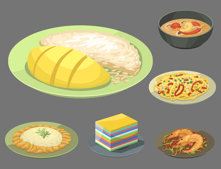 Traditionelle nationale thailändische Nahrung thailand asiatische Platte Küche Meeresfrüchte Garnelen Kochen köstliche Vektor-Illustration. Standard-Bild - 83085897